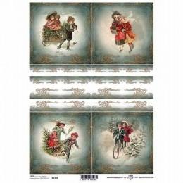 Papier ryżowy A4 ITD Boże Narodzenie zima obrazki dzieci choinka