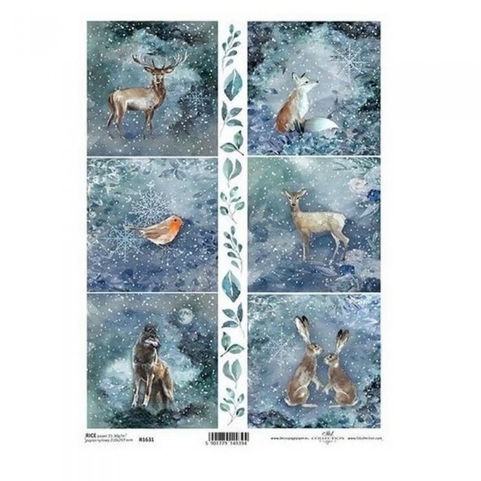 Papier ryżowy A4 ITD Boże Narodzenie zima zwierzęta leśne nocą