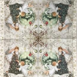 Serwetka do decoupage Boże Narodzenie aniołki choinka 1 szt.