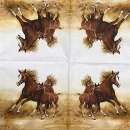 Serwetka do decoupage KONIE w galopie koń ze źrebakiem 1 szt.