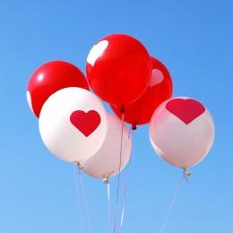 Balony BIAŁE Z CZERWONYM SERCEM