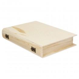 Decoupage Drewniane pudełko w kształcie książki