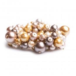 Elegancka gruba bransoletka z pereł szklanych