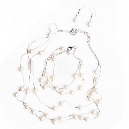 Komplet biżuterii damskiej z PEREŁKAMI SZKLANYMI