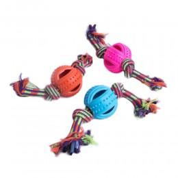 Piłka na sznurku do aportowania, przeciągania, siłowania, dla średniego psa