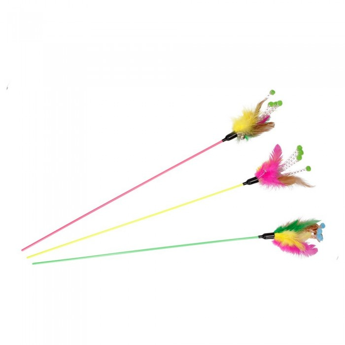 Wędka dla kota z kolorowymi piórkami