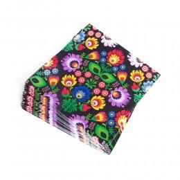 Serwetki papierowe FOLK - kwiaty łowickie czarne