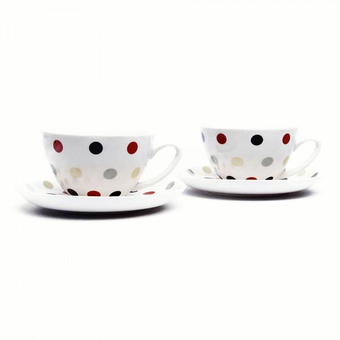 Komplet 2 filiżanek do kawy herbety w KROPECZKI