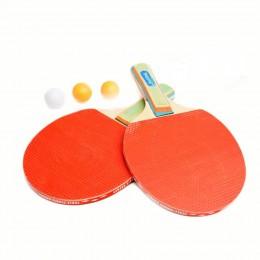 Zestaw do tenisa stołowego: 2 rakietki + 3 piłki