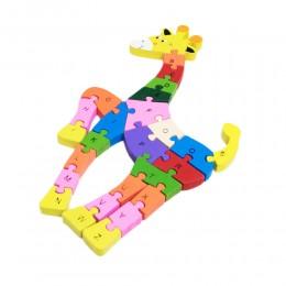 Drewniane puzzle 3D układanka cyferki ŻYRAFA
