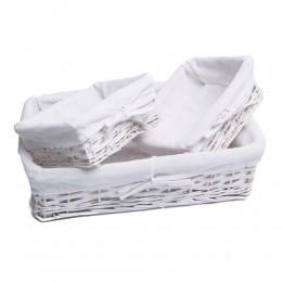 Komplet koszy wiklinowych koszyk biały tkanina