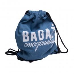 Plecak worek niebieski jeansowy z napisem BAGAŻ EMOCJONALNY