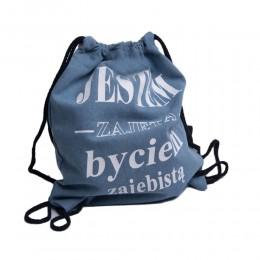 Plecak worek niebieski jeansowy z napisem JESTEM ZAJĘTA