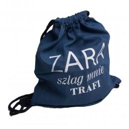 Plecak worek niebieski jeansowy z napisem ZARAZ SZLAG MNIE TRAFI