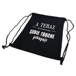 Czarny  jeansowy plecak - worek A TERAZ KRÓLEWNA SOBIE