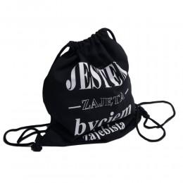 Czarny  jeansowy plecak - worek JESTEM ZAJĘTA BYCIEM ZAJEBISTĄ