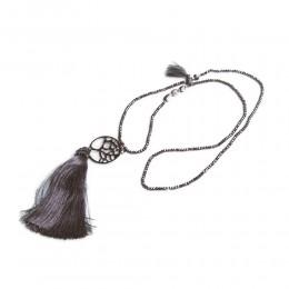Szary długi naszyjnik wisior z chwostem