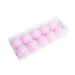 Różowe COTTON BALLS kule świecące LED 10 kul lampki ball