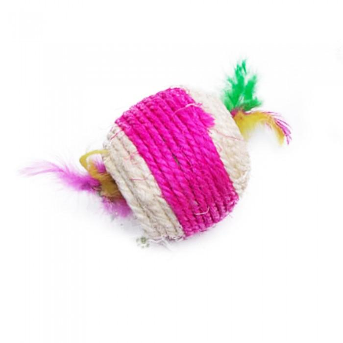Piłka dla kota ze sznurka z piórkami