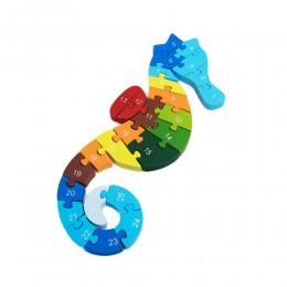 Drewniane puzzle dla dzieci KONIK MORSKI