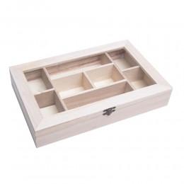 Przeszklone pudełko drewniane z przegródkami do decoupage