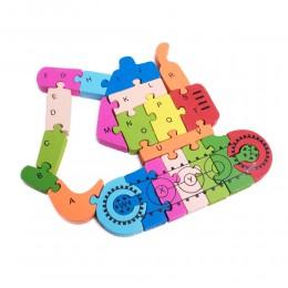 PUZZLE DREWNIANE układanka dla dzieci literki cyferki KOPARKA