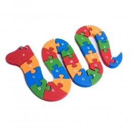 Drewniane puzzle dla dzieci klocki układanka literki cyferki WĄŻ