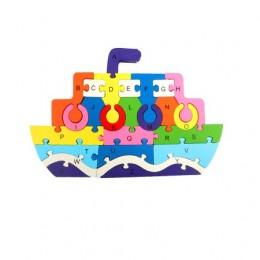 Drewniane puzzle klocki edukacyjne układanka dla dzieci STATEK