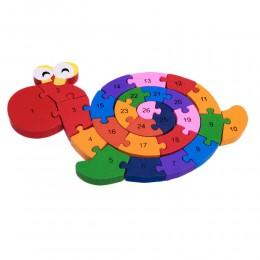 Klocki puzzle drewniane dla dzieci ŚLIMAK