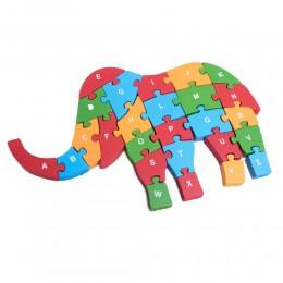 Klocki puzzle drewniane dla dzieci SŁOŃ