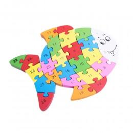 Klocki puzzle drewniane dla dzieci RYBA