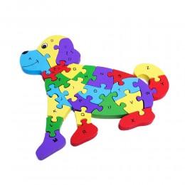 Klocki puzzle drewniane dla dzieci PIES