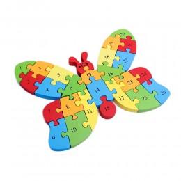Klocki dwustronne literki cyferki puzzle drewniane dla dzieci MOTYL