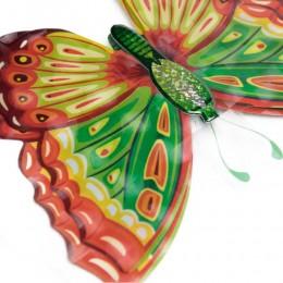 Zielono pomarańczowe motyle trójwymiarowe 6D