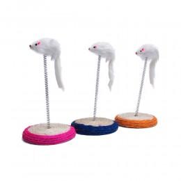 Futrzana mysz na sprężynie i stojaku z sizalu