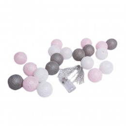 Lampki Cotton Ball Lights 20 kul biały róż szary