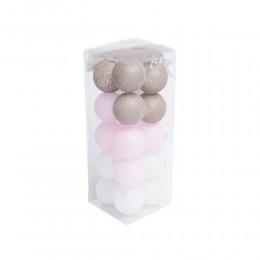 Lampki kule Cotton ball Lights 20 szt biały róż oliwka