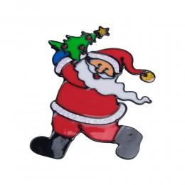 MIKOŁAJ Z CHOINKĄ naklejka żelowa świąteczna na szybę