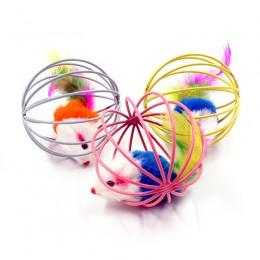 MYSZ zabawka w drucianej piłce klatce dla kota 6,5cm