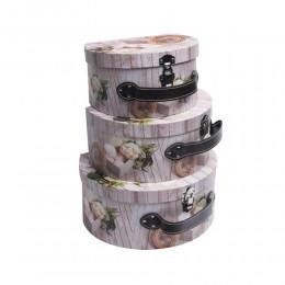Zestaw 3 szt kuferków pudełek tekturowych PIWONIA