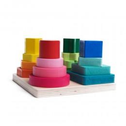 Drewniana układanka geometryczna, 4 wieże sorter zabawka dla dziecka