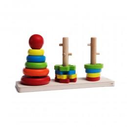 Drewniana układanka geometryczna 3 wieże sorter zabawka dla dziecka