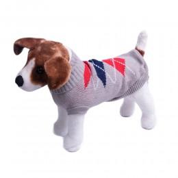 Szare ubranko sweterek dla psa w kratę