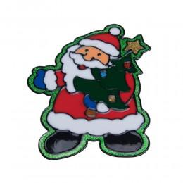 Naklejka żelowa świąteczna na szybę MIKOŁAJ Z CHOINKĄ