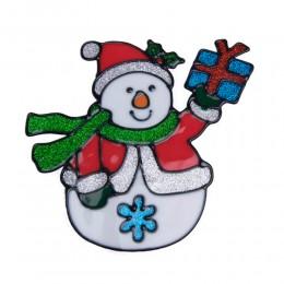 Naklejka żelowa świąteczna na szybę BAŁWANEK Z PREZENTEM