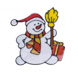 Naklejka żelowa świąteczna na szybę BAŁWANEK Z MIOTŁĄ