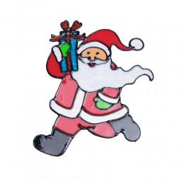 Naklejka żelowa świąteczna na szybę MIKOŁAJ Z PREZENTEM