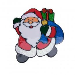 Naklejka żelowa świąteczna na szybę MIKOŁAJ Z WORKIEM PREZENTÓW