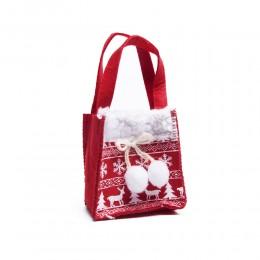 Mała czerwona torebka świąteczna filcowa na prezent