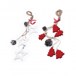 Eko zawieszka dekoracja świąteczna z drewna i szyszek dł. 50cm